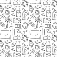 Hand Drawn Travel Pattern. Doodle Vector Illustration of Travel.