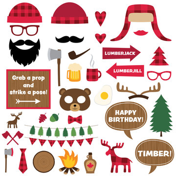 Lumberjack design elements and photo booth props set