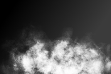 Vector realistic isolated smoke effect on the dark background. Realistic fog or cloud for decoration.