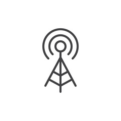 WIFI signal antenna line icon, outline vector sign, linear style pictogram isolated on white. Symbol, logo illustration. Editable stroke. Pixel perfect