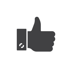 Hand gesture thumbs up icon vector, filled flat sign, solid pictogram isolated on white. Symbol, logo illustration. Pixel perfect