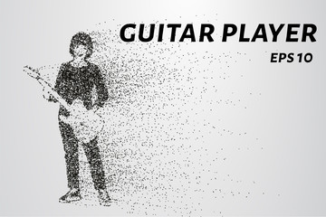 Guitarist from particles. Guitar player consists of circles and points. Vector illustration.