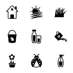 Set of simple icons on a theme House, plot, farming, farming, vector, set. White background