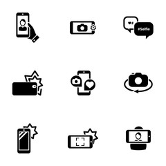 Set of simple icons on a theme Self, photo, camera, phone, mobile, interaction, technology, vector, set. Black icons isolated against white background