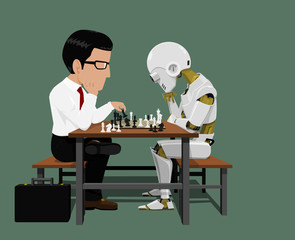 Businessman and robot are playing chess