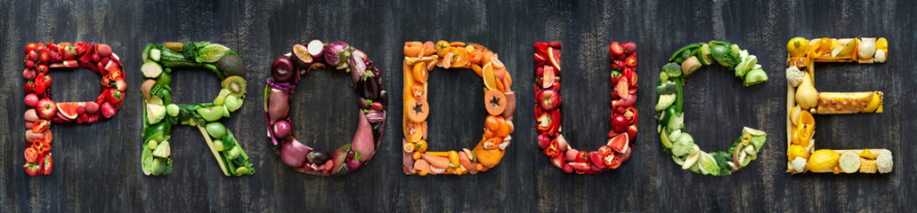 Raw produce forming food related words