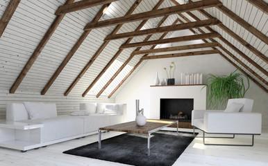 Cozy monochromatic white living room or den