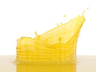 3d Rendering Orange Juice splash over white background