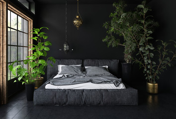 Wide bed in dark room