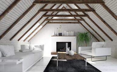 Attic living room in minimalist design