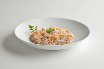 Bowl of risotto with seafood