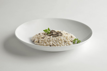 Bowl of risotto with truffle
