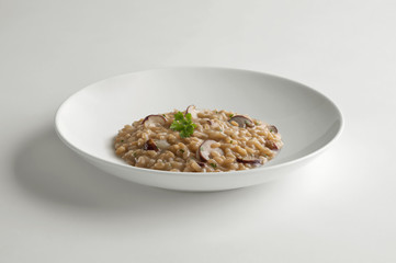 Bowl of risotto with porcini mushrooms