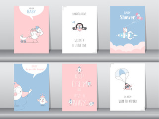 Set of baby shower invitation cards,birthday,poster,template,greeting,animals,cute,birds,Vector illustrations