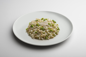 Risotto dish with barley spelt broccoli and cheese