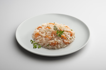 Risotto dish with shrimp and aromatic herbs