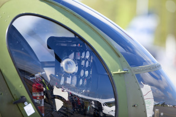 Helicopter instruments. An image of helicopter dashboard. Image taken from outside.