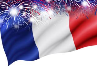 France flag with firework on white background for bastille day