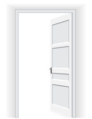 Open door in a white interior room, interior concept. Vector Illustration