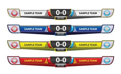 Template scoreboard design elements for sport
