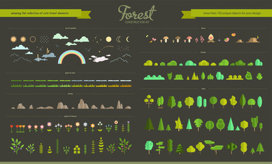 Set of flat vector forest elements Wall mural
