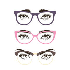 3 basic eyebrow shape and types of glasses. Vector illustration. Fashion female brow