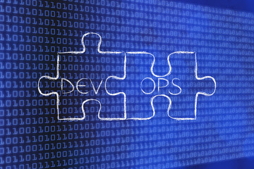 matching pieces of puzzle with text DevOps,