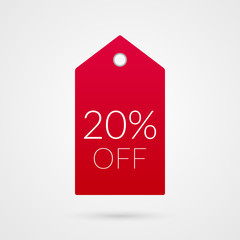 20 percent off shopping tag vector icon. Red and white isolated discount symbol. Illustration sign for sale, advertisement, marketing project, business, retail, wholesale, shop, commerce, finance