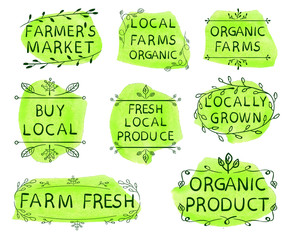 Farmer's market, local farms organic, organic farms, buy local, fresh local produce, locally grown, farm fresh, organic product. Set of VECTOR icons on yellow-green watercolor spots