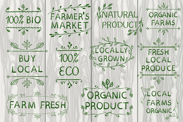 Set of VECTOR typographic elements on light wooden background. Farmers market, farm fresh eco food on white background. White lines.