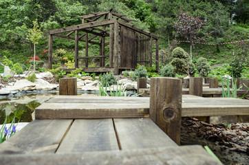 Wooden pergola in japanese garden