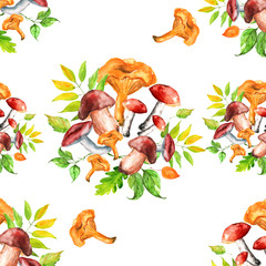 Seamless watercolor pattern, background with a picture of forest mushrooms, berries, autumn leaves, plants. Vintage illustration for a variety of designs. on a white background