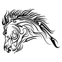 Vector line art horse head tattoo sketch