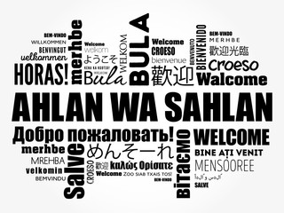 Ahlan Wa Sahlan (Welcome in Arabic) word cloud in different