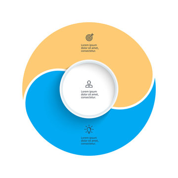 Vector pie chart. Presentation template with 2 steps, options, sections.