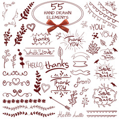 Big set of 55 hand drawn design elements. VECTOR. Red on white with realistic bow