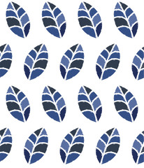 Seamless floral pattern with blue leaves