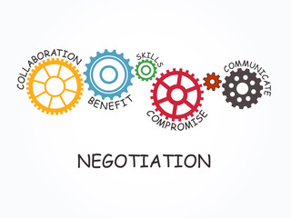 Negotiation with gear concept. Vector illustration.