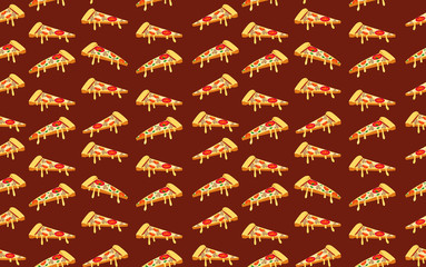 Seamless pizza pattern on dark red. VECTOR