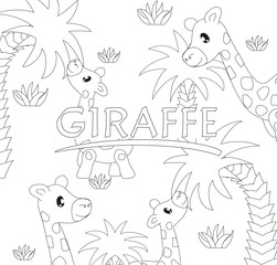 Black and white page for coloring book. Vector elements. Funny cute giraffes and palm trees. Good for art therapy, zentangle-style meditation and design of wrapping and textile.