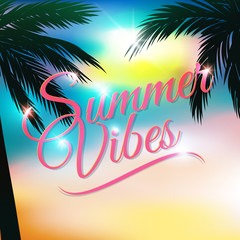 Summer themed background with palm trees