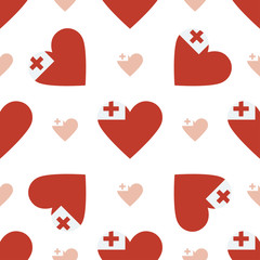 Tonga flag heart seamless pattern. Patriotic Tonga flag background. Country flag in the shape of heart. Vector seamless pattern.