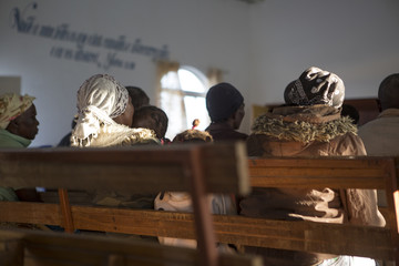 African church in Angola, with natural light from the windows