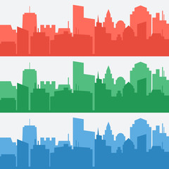 Vector set of banners with colored city silhouettes