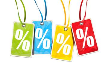 Prozente - Bunte Anhänger Etiketten mit Prozent Zeichen und Textur