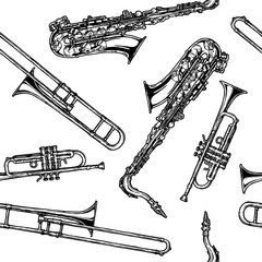 pattern with woodwind and brass musical instrument