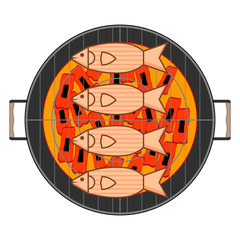 Set fragrant fish on barbecue grill with a burning coal on white background. Isolated graphic vector illustration in flat style.