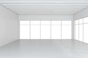 Empty white room interior office. 3d rendering.