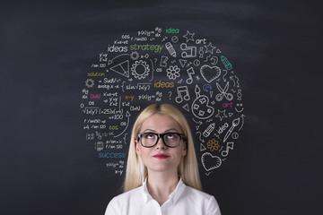 Business woman brain hemisphere on the blackboard