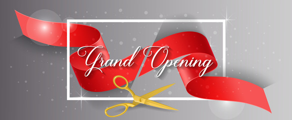 Grand Opening Lettering and Cut Ribbon